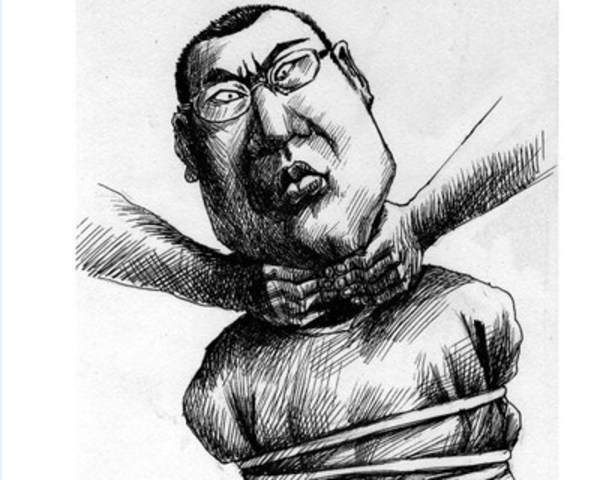 Cartoon of Chinese Dissident Journalist Chang Ping (CNW Group/Canadian Journalists for Free Expression)