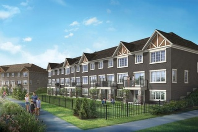 This artist's rendering of Mattamy Home's new community in Airdrie - The Gates at Hillcrest - shows the rear elevation of the Manor homes with Arts & Crafts and Tudor architectural styles, on walkout lots, backing onto an environmental reserve area. (CNW Group/Mattamy Homes Limited)