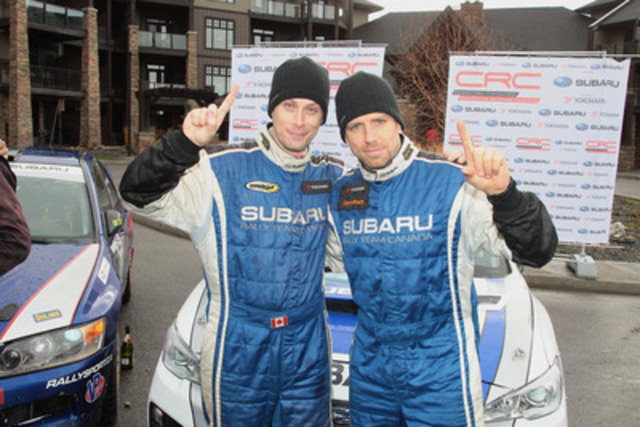 Subaru Rally Team Canada clinches their 11th Canadian Rally Championship manufacturer title after winning Rocky Mountain Rally in the Rocket Rally-prepared Subaru WRX STI. © 2015 Rocket Rally Racing by Philip Ericksen/Radikal Videos. (CNW Group/Subaru Canada Inc.)