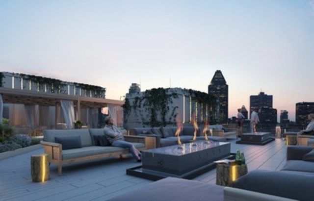 Elements Condominiums' future terrace will offer spectacular views over Montreal. (CNW Group/Devimco ...