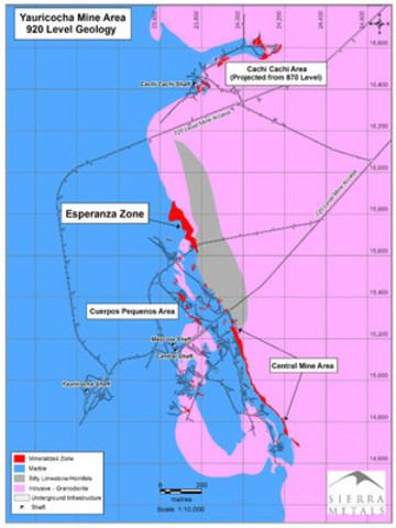 Figure 1 - Plan View: Yauricocha Mine Area (CNW Group/Sierra Metals Inc.)