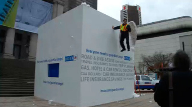 Video: BCAA Guardian Angel illusion in downtown Vancouver to help promote safe winter driving.