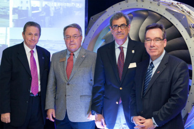 From left to right : Hany Moustapha, Director, AÉROÉTS, ÉTS; Richard Heist, Executive Vice President and Chief Academic Officer, ERAU Daytona Beach; Maj Mirmirani, Dean of Engineering, ERAU Daytona Beach; Yves Beauchamp, CEO, ÉTS. (CNW Group/ECOLE DE TECHNOLOGIE SUPERIEURE, UNIVERSITE DU QUEBEC)