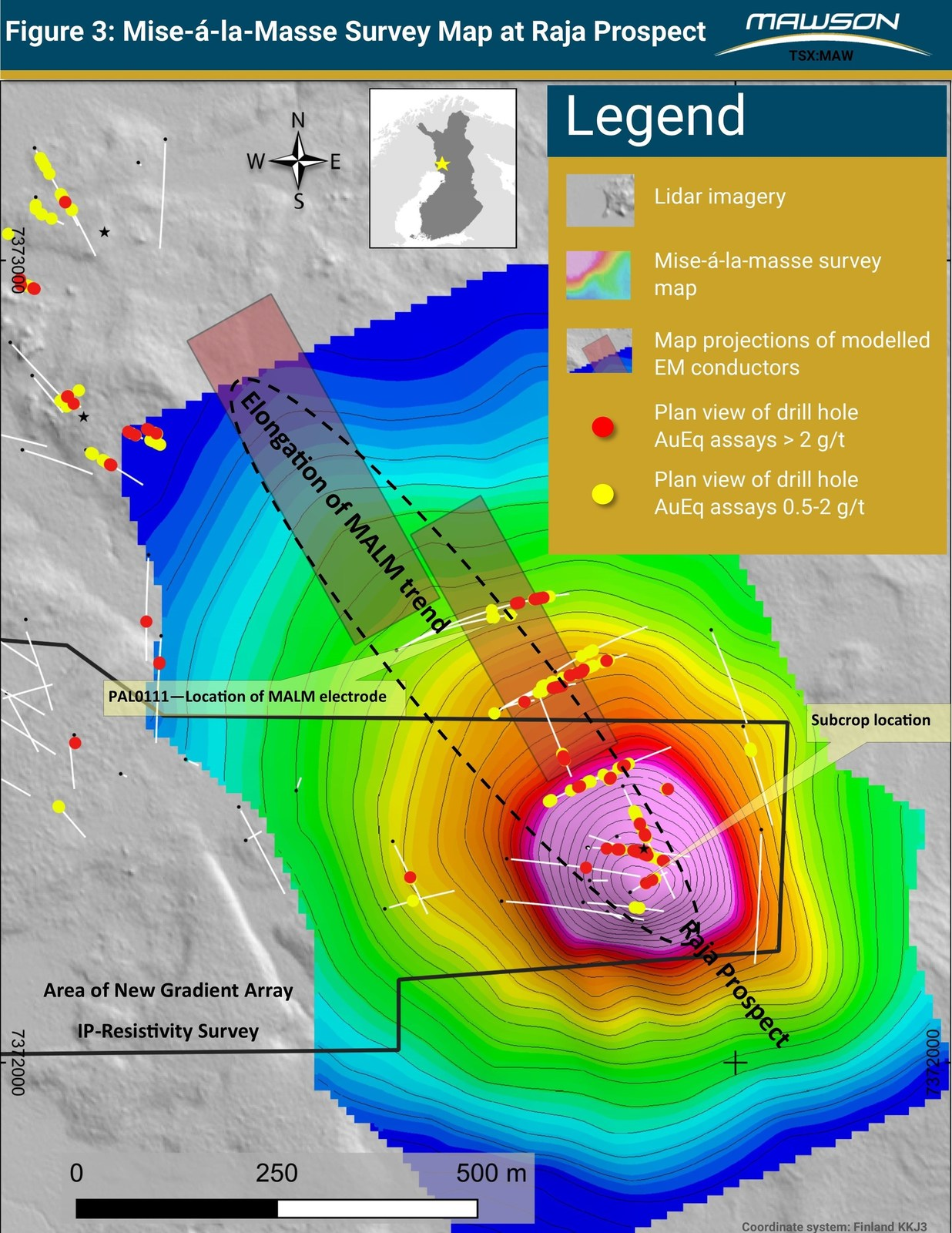 Figure 3: Plan view of mise-á-la-masse surveys at the Raja prospect have defined subcropping mineralization and support the north-west extensions seen in the TEM surveying. This survey demonstrates mineralization is a coherent body along the drilled 450 metre strike length.