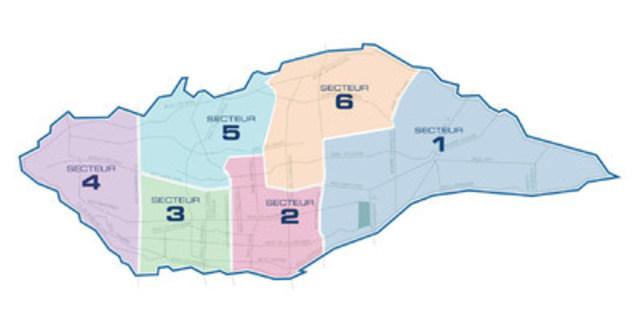 Carte des secteurs, Ville de Laval (Groupe CNW/Ville de Laval)