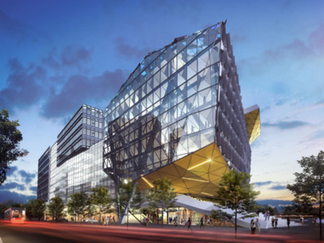 A view of the Waterfront Innovation Centre looking southeast from Queens Quay Blvd. East (Courtesy Menkes ...
