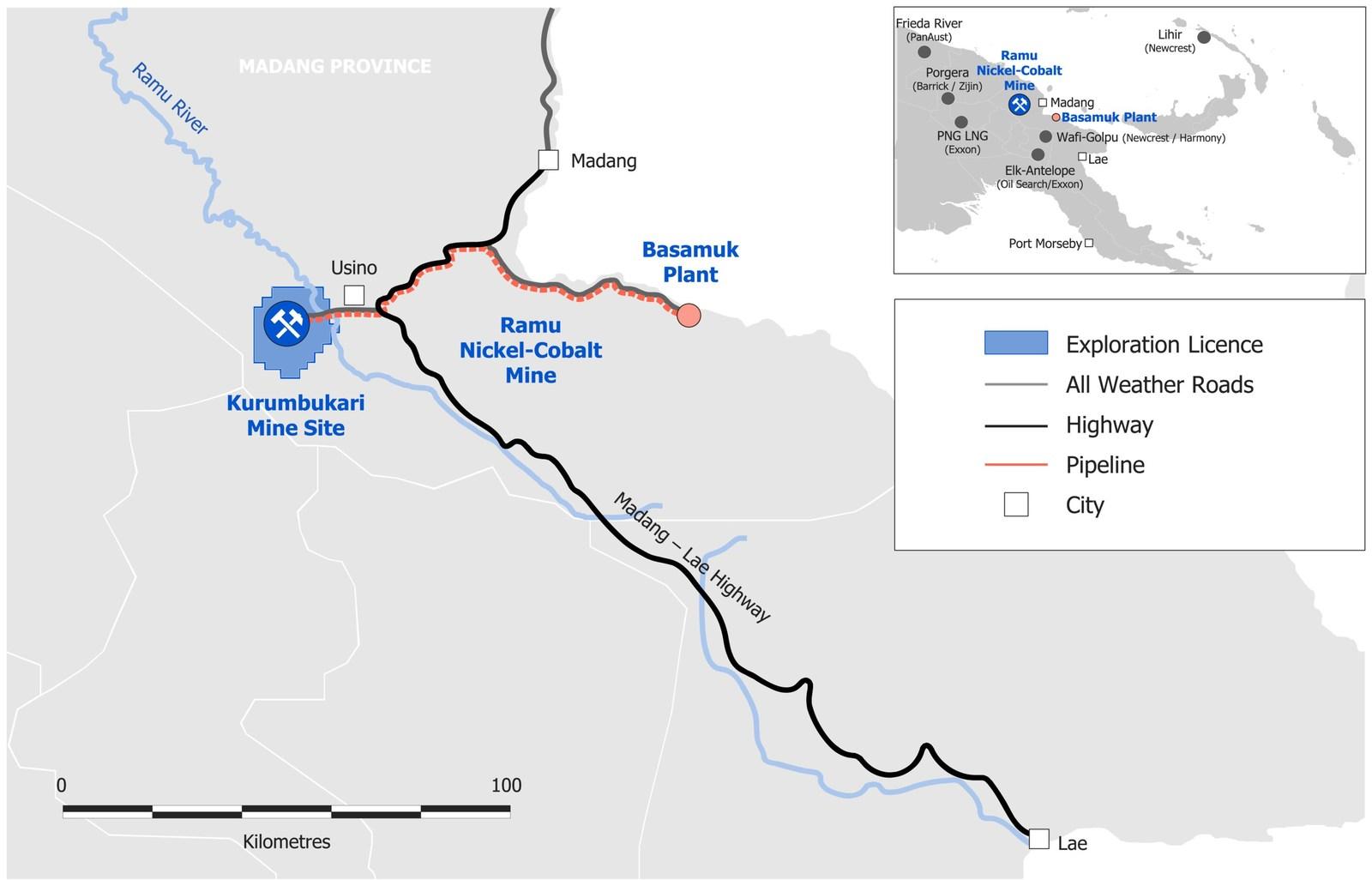 Figure 1 - Ramu Location and Surrounding Infrastructure