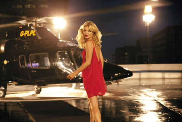 Kate Moss arrived at Battersea Power Station by helicopter today in celebration of her 10 years as the face of Rimmel. (CNW Group/Rimmel)