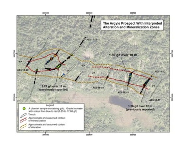 Exhibit A: The Argyle prospect showing the location of the four trenches (AEtr15-17 to AEtr15-20) and samples highlighted in this press release as well as previously excavated trenches.  Alteration and mineralization have been observed over 300 metres of strike length. (CNW Group/Anaconda Mining Inc.)