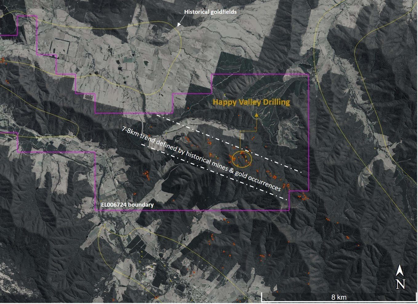 Figure 2- Happy Valley target is a significant trend, which extends over 7km along strike and is defined by multiple historic mines and gold occurrences. (CNW Group/E79 Resources Corp.)