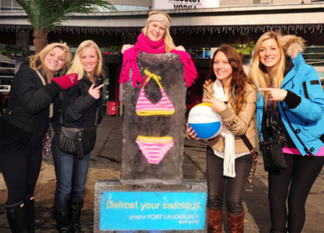 "Greater Fort Lauderdale Heated up Toronto with ""Defrost Your Swimsuit"" Event. Left to right are; Danielle Goldberg, Kristy Schofield, Loretta Shaughnessy, Rachel Surman and Jordi Goldberg of Toronto strikes a pose with frozen bikini. (CNW Group/Greater Fort Lauderdale)"