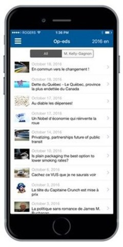 Mobile MEI: New application available for iOS (CNW Group/Montreal Economic Institute)