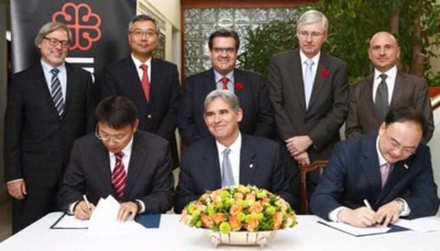Back Row Left to Right: Jean-Francois Grou, President & COO, Rideau Recognition Solutions;  Frank Wang, Chairman, FESCO Group; Denis Coderre, Mayor of Montreal; Guy Saint-Jacques,  Canadian Ambassador to China; Paul Scarpignato, CEO, FESCO-Rideau. Front Row:  Edward Tai, General Manager, FESCO-NST;  Peter Hart, CEO and Director of the Board, Rideau Recognition Solutions;  Wen Qin Shan: General  Manager, FESCO. (CNW Group/Rideau Recognition Solutions)