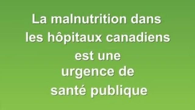 Vidéo : Afin de présenter le problème de la malnutrition dans les hôpitaux canadiens, le Groupe de travail canadien sur la malnutrition a lancé une vidéo de 15 secondes; ce lancement coïncidera avec la Semaine canadienne de sensibilisation à la malnutrition (du 28 septembre au 2 octobre).
