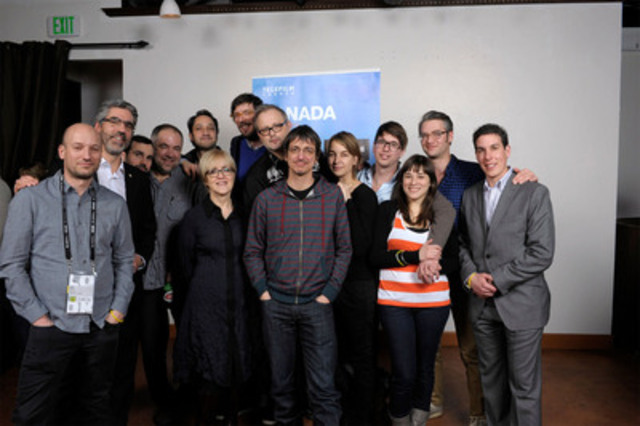 Last night at a Telefilm Canada event 300 guests celebrated the Canadian talent at the 2012 Sundance Film Festival. Telefilm's Carolle Brabant stands left to director Philippe Falardeau (centre), whose film Monsieur Lazhar was nominated this morning for a Foreign Language Film Oscar. (CNW Group/TELEFILM CANADA)