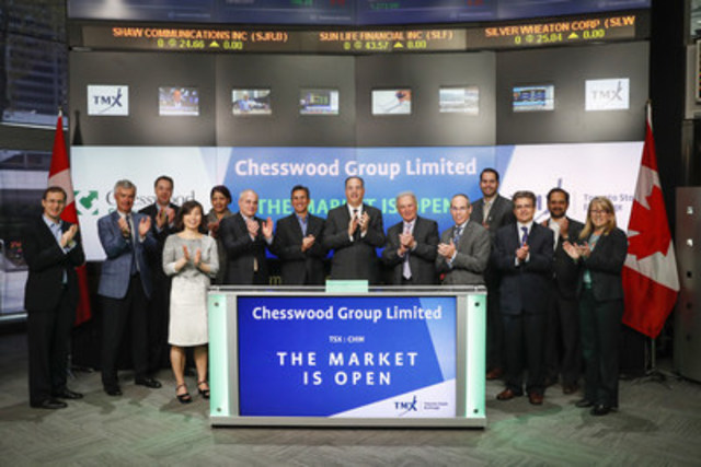 Barry Shafran, President & Chief Executive Officer, Chesswood Group Limited (CHW), joined Michael Ptasznik, Chief Financial Officer, TMX Group to open the market to celebrate 10 years listed on Toronto Stock Exchange. Chesswood is a financial services company operating primarily in the specialty finance industry. Chesswood Group Limited commenced trading on Toronto Stock Exchange on May 9, 2006. For more information please visit www.chesswoodgroup.com. (CNW Group/TMX Group Limited)
