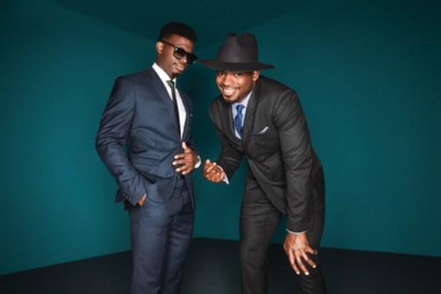 PK Subban in his double breasted pinstriped suit and his brother Jordan in the steel blue suit. (CNW Group/RW&CO.)