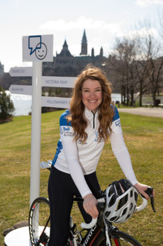 Clara Hughes, Six-Time Canadian Olympian and National Spokesperson for Bell Let's Talk at the launch of Clara's Big Ride for Bell Let's Talk announced today at the Canadian Museum of Civilization in Gatineau. (CNW Group/Bell Canada)