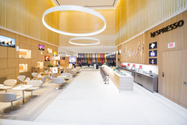 The newly opened 14,000 sq. ft Nespresso Toronto Boutique Bar features a boutique and café. Located at 159 Cumberland Street in Yorkville, the flagship location was designed by Italian architect Aldo Parisotto of Parisotto e Formenton. (Photo: JJ Thompson) (CNW Group/Nespresso Canada)