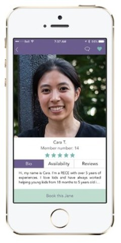 BookJane is a mobile app that helps you find caregivers for your loved ones, on demand and in your area. (CNW Group/BookJane.com)