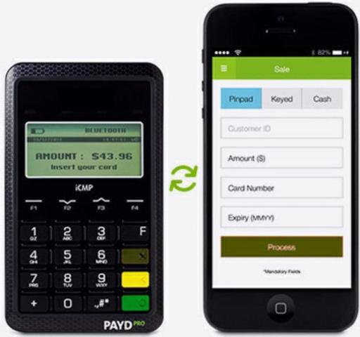 Clavier NIP Bluetooth et application mobile PAYD sur un téléphone intelligent avec iOS(MD) (Groupe CNW/Moneris Solutions Corporation) (Groupe CNW/Moneris Solutions Corporation)