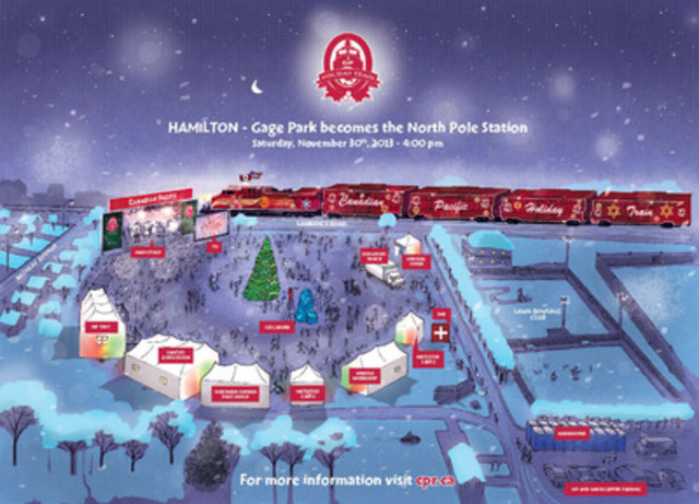 Artist rendering of site for 2013 CP Holiday Train Concert. (CNW Group/Canadian Pacific)