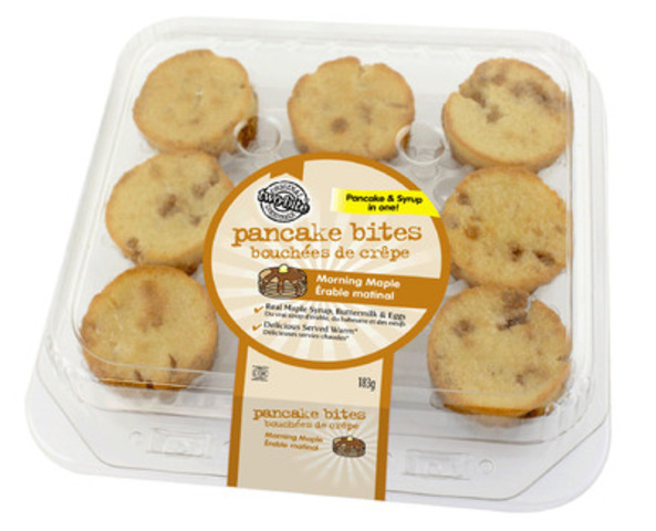 Give & Go Prepared Foods Corp. is introducing an entirely new, convenient breakfast option for moms on the go and the little mouths they have to feed --two-bite® Pancakes BitesTM/MC available in Morning Maple and Chocolate Chip flavours. (CNW Group/Give & Go Prepared Foods Corp.)