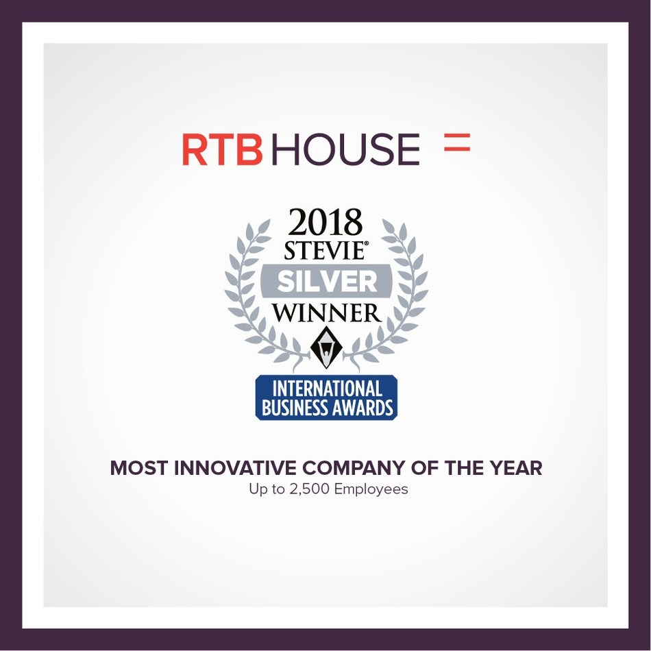 RTB House was named the winner of a Silver Stevie Award in The Most Innovative Company of the Year - Up to 2,500 Employees category in The 15th Annual International Business Awards