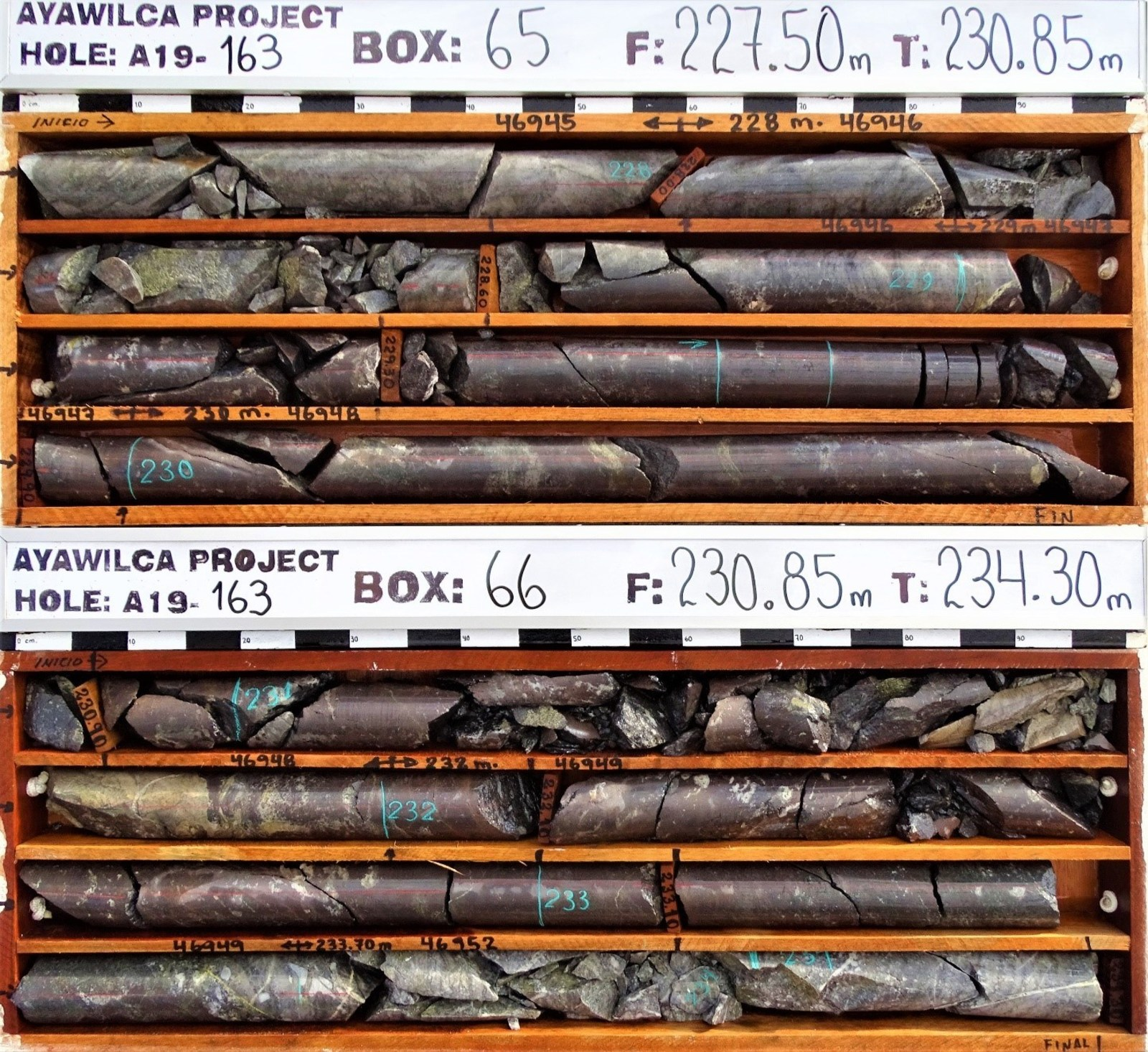 Figure 2.  Drill core of high grade interval grading 32.6% zinc, 0.02% lead, 20 g/t silver. Sphalerite is noted by the reddish colour
