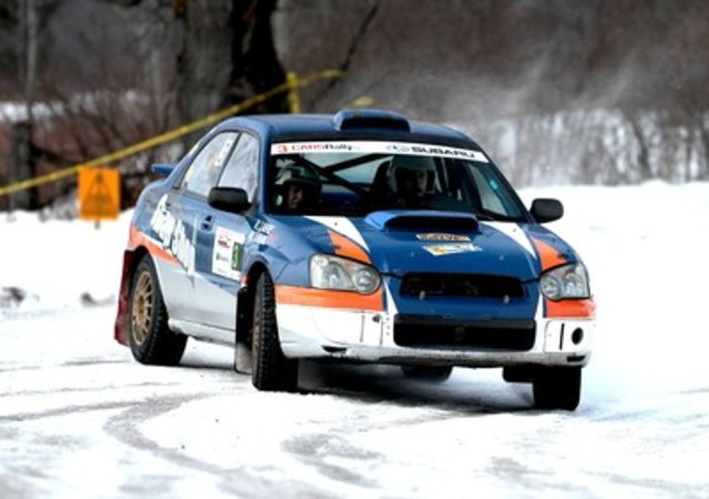 Maxime and Robert Labrie win their first national Canadian Rally Championship event in a Subaru WRX, helping to secure the most manufacturer points for Subaru. © 2016 Rocket Rally Racing by Philip Ericksen/Radikal Videos.  (CNW Group/Subaru Canada Inc.)