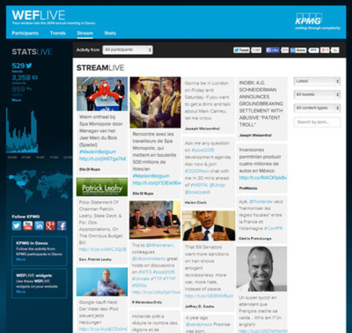 Follow what world leaders in Davos are discussing and use WEFLIVE.com filters to sort by what is most relevant to you: topics, content type (articles, videos, photos), latest or trending tweets or by participant profile (women, business, NGOs etc.) (CNW Group/KPMG International)
