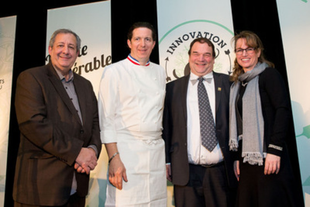 Philippe Mollé (Chef and journalist), Christophe Bacquié (Maple Ambassador), Serge Beaulieu (FPAQ), Geneviève Béland (FPAQ) presented 11 new talented new Maple Masters at the Fête de l'érable 2014. (CNW Group/Federation of Quebec Maple Syrup Producers)
