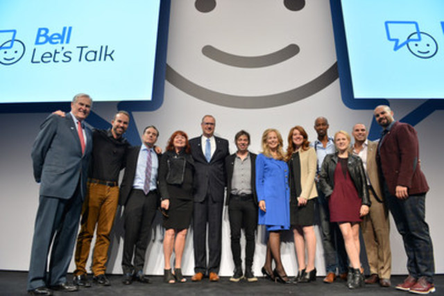 President and CEO of BCE and Bell Canada,  George Cope, Chair of Bell Let's Talk, Mary Deacon, with Bell Let's Talk spokespeople and ambassadors. (CNW Group/Bell Canada)