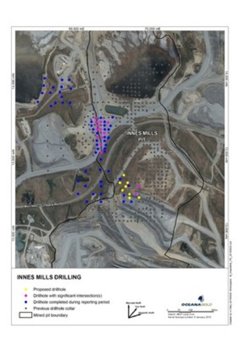 Figure 8 – Innes Mills Drill Program Map (CNW Group/OceanaGold Corporation)