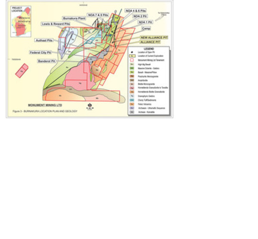 Appendix 5: Figure 3: Monument Burnakura Geology Final 1 (CNW Group/Monument Mining Limited)