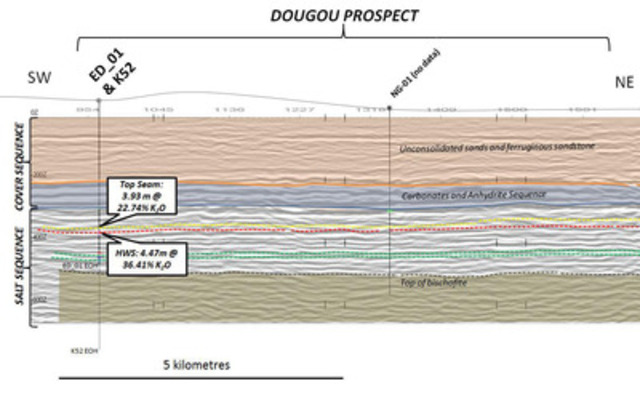 Figure 3: Cross section through the Dougou Prospect along (Oil Industry) 2D seismic line MP06-03, showing the main contacts and interpreted reflectors within the salt sequence. (CNW Group/Elemental Minerals Limited)