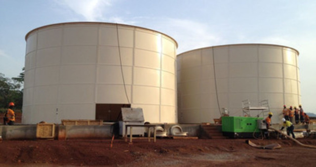 CIL tank construction, in early March 2013 (CNW Group/Endeavour Mining Corporation)