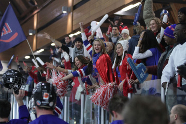 Players from Les Amigos thank fans for cheering them on in a surprise game that made pro-hockey dreams a reality for unsuspecting players on December 21, 2011. The footage will be used as Budweiser's national Canadian Super Bowl ad. (CNW Group/Budweiser)