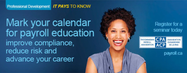 The Canadian Payroll Association's Taxable Benefits & Allowances Seminar helps employers comply with payroll legislation. There are over 190 federal and provincial regulatory requirements.  A complete listing of Canadian Payroll Association seminar dates and topics can be found at payroll.ca. (CNW Group/Canadian Payroll Association)