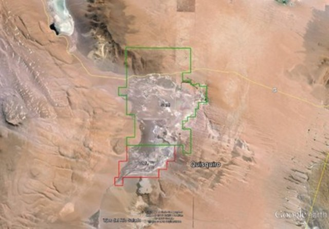 Figure 1: Quisquiro Salar, showing Property (red outline) and SQM Ownership (green outline) (CNW Group/Wealth Minerals Limited)
