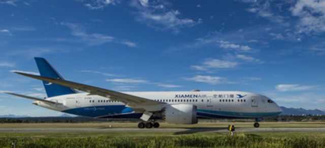 Xiamen Airlines: YVR welcomes Xiamen Airlines' first service to North America. (CNW Group/Vancouver Airport Authority)