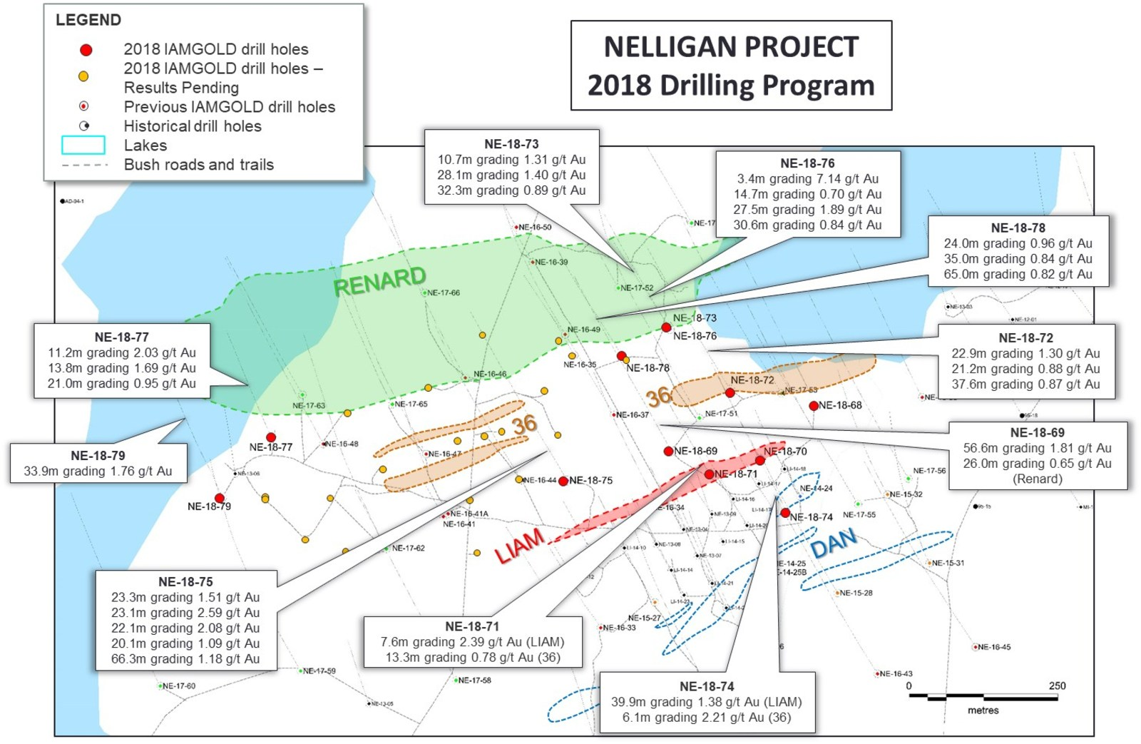 Figure 1: Nelligan drill hole plan map and highlighted 2018 assay results.
