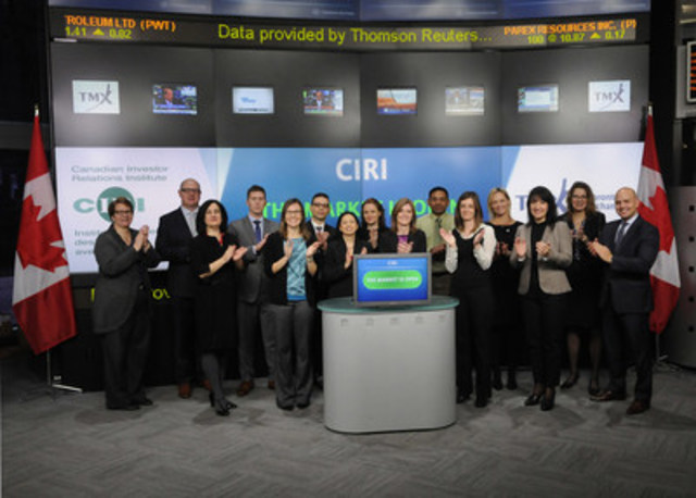 Yvette Lokker, President & CEO, Canadian Investor Relations Institute (CIRI) joined Loui Anastasopoulos, Vice President, TSX Company Services, Toronto Stock Exchange & TSX Venture Exchange to open the market. Also joining them are the graduates of the 2014/2015 Certified Professional in Investor Relations (CPIR) program. CIRI is a professional, not-for-profit association of executives responsible for communication between public corporations, investors and the financial community. CIRI contributes to the transparency and integrity of the Canadian capital market by advancing the practice of investor relations, the professional competency of its members and the stature of the profession. For further information, please visit www.CIRI.org. (CNW Group/TMX Group Limited)