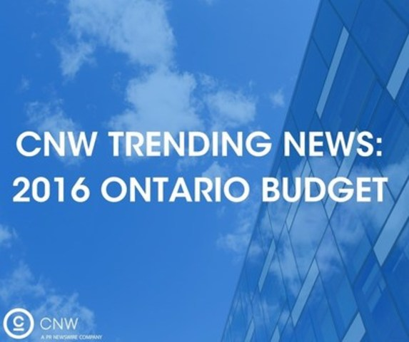 2016 Ontario Budget (CNW Group/CNW Group Ltd.)