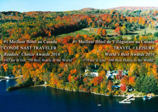 Le Manoir Hovey nommé hôtel #1 au Canada - Condé Nast Traveler' 2016 Readers' Choice Awards (Groupe CNW/Manoir Hovey)