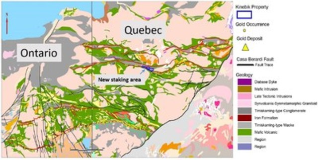 Figure 5. Simplified geology of the Abitibi terrane showing location of new staking area in Québec, Canada. (CNW Group/Chalice Gold Mines Limited)