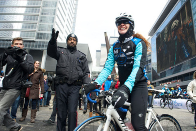 Clara's Big Ride for Bell Let's Talk begins: Six-time Olympian Clara Hughes starts in Toronto an unprecedented 110-day journey to build a Canada free of the stigma around mental illness, that will lead her to the Parliament Hill in Ottawa on July 1st. (CNW Group/Bell Canada)