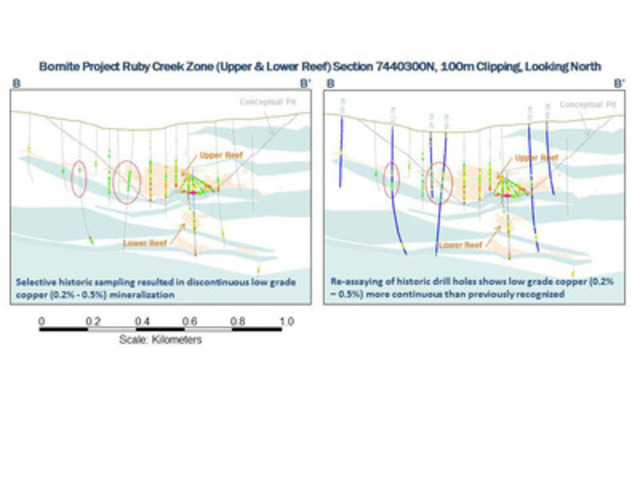 Figure 1B Bornite Drill Hole Location Figures Showing Results from Re-Assay Program (CNW Group/NovaCopper Inc.)