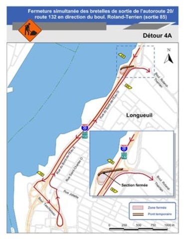 Pour le détour 4A juillet : Carte illustrant le détour 4A pour la fermeture de la bretelle menant de l'autoroute 20 / route 132 ouest au boul. Roland-Therrien. (Groupe CNW/Ministère des Transports)