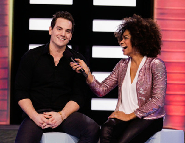Big Brother Canada evicted houseguest Tom Plant talks with host Arisa Cox (CNW Group/Shaw Media)